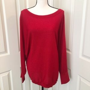 INC Red Shimmery Pullover Sweater Size 3X EUC